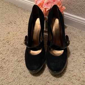 Coach suede and patent leather platforms, size 8